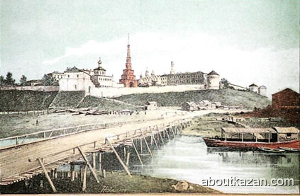 Wooden bridge over Kazanka river near Kazan city Kremlin picture