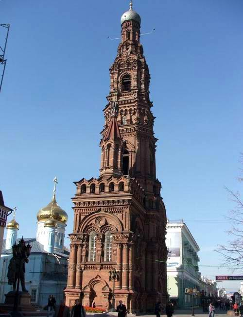 Kazan city central part photos - The bell tower of Bogoyavlesnkiy Cathedral photo