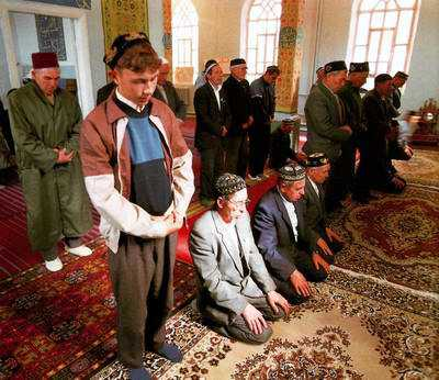 Tatars people of Kazan city in mosque 1st photo